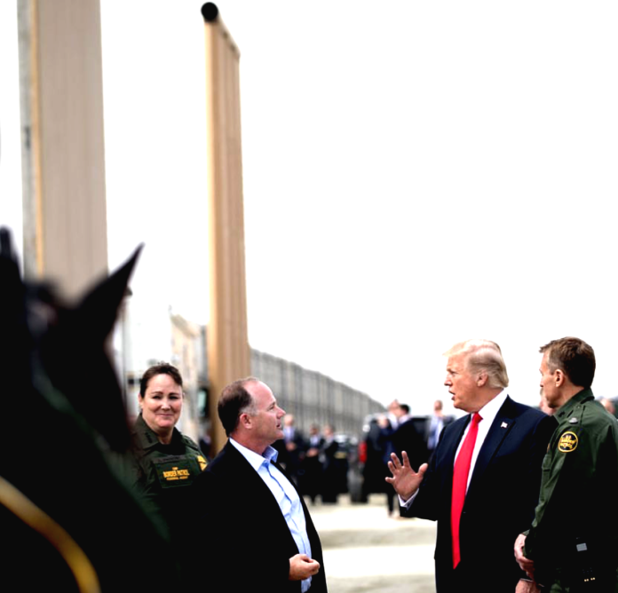 President Donald Trump inspects wall prototypes in California